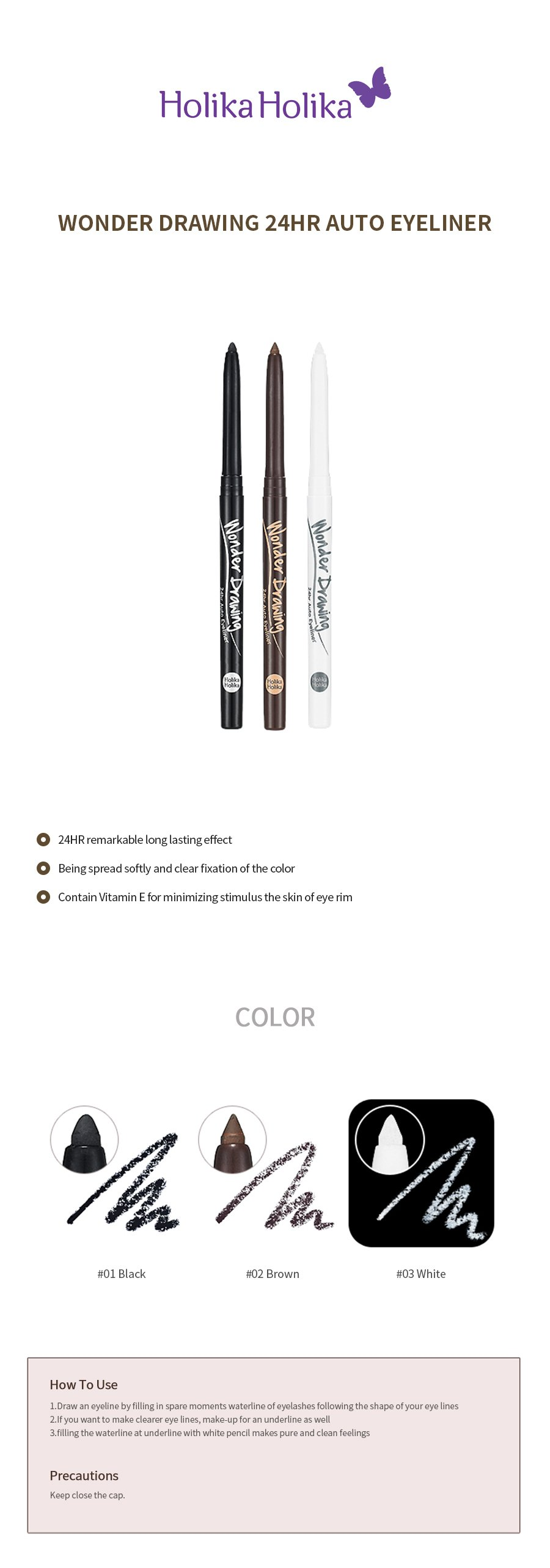 Wonder Drawing 24Hr Auto Eyeliner 10g How to use Description Ingredients