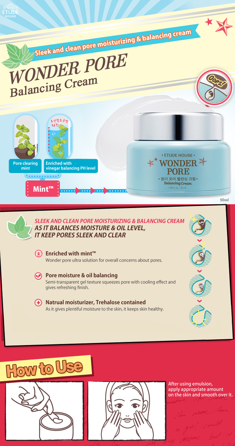 Wonder Pore Balancing Cream 50ml How to use Description Ingredients